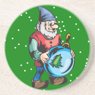 Elf and Blue Christmas Ornament Drink Coaster