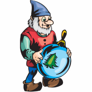Elf and Blue Christmas Ornament Standing Photo Sculpture