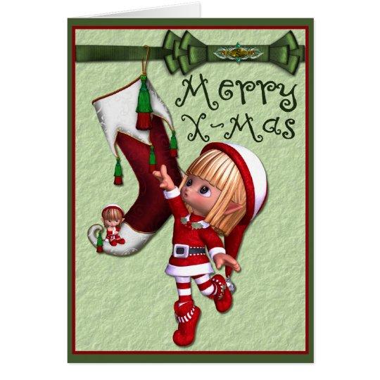 Elf and Christmas Stocking Card