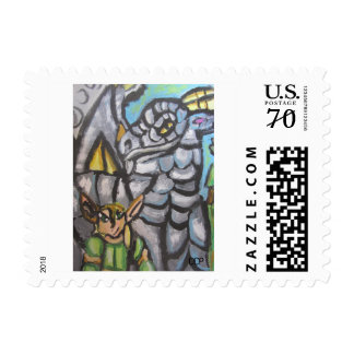 elf and dragon art one postage stamp