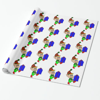 Elf And Gift Wrapping Paper
