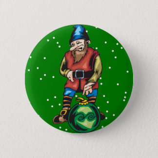 Elf and Green Christmas Ornament Button