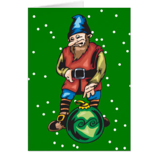 Elf and Green Christmas Ornament Stationery Note Card