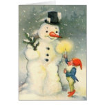 Elf and Snowman Vintage Christmas Card