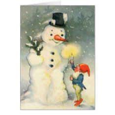 Elf and Snowman Vintage Christmas Card at Zazzle