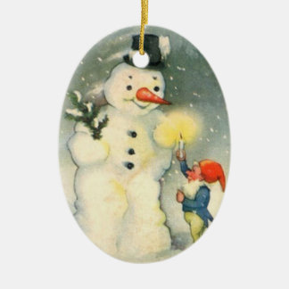 Elf and Snowman Vintage Christmas Ornament