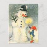 "Elf and Snowman Vintage Christmas Postcard<br><div class=""desc"">One of Santa"