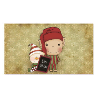 Elf and Snowman with a Happy Holiday Sign Business Card Templates
