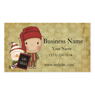 Elf and Snowman with a Happy Holiday Sign Business Card Template
