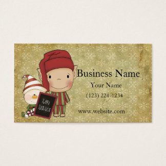 Elf and Snowman with a Happy Holiday Sign Business Card