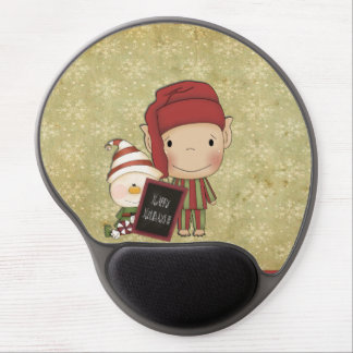 Elf and Snowman with a Happy Holiday Sign Gel Mouse Pads