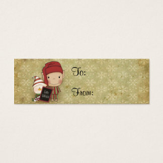 Elf and Snowman with a Happy Holiday Sign Mini Business Card