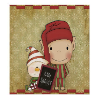 Elf and Snowman with a Happy Holiday Sign Poster