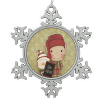 Elf and Snowman with a Happy Holiday Sign Snowflake Pewter Christmas Ornament