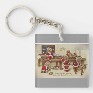 Elf Babies Making Toys Keychain