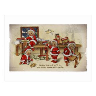 Elf Babies Making Toys Postcard