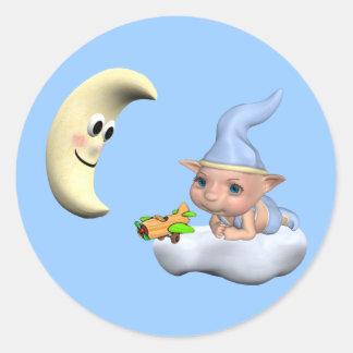 elf baby2 classic round sticker