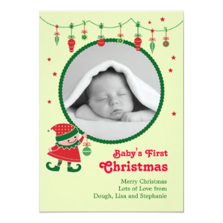 Elf Baby's First Christmas Photo Announcement