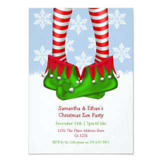 Elf Boots And Stockings Snowflake Christmas Party Card