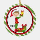 Elf Boy Holding Presents Christmas Ornament