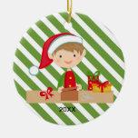 Elf Boy in Workshop Ornament