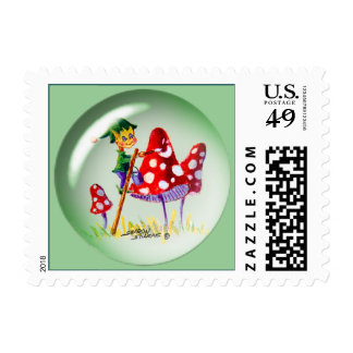 ELF BUBBLE & MUSHROOMS by SHARON SHARPE Postage Stamp