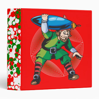 Elf Carrying Christmas Ornament 3 Ring Binder
