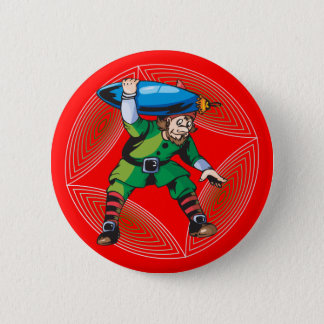 Elf Carrying Christmas Ornament Pinback Button