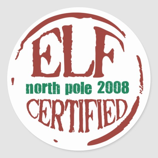 Elf Certified Stamp Sticker Zazzle Com