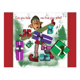 Elf Christmas gift holiday Postcard