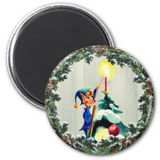 ELF, CONES & CHRISTMAS TREE by SHARON SHARPE 2 Inch Round Magnet