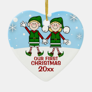 Elf Couple First Christmas Ornament
