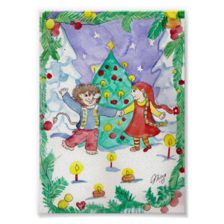 Elf Dance Winter Fun Art Print