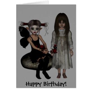 Elf Dark Wolf Raven Undead RoseMary Happy Birthday Card