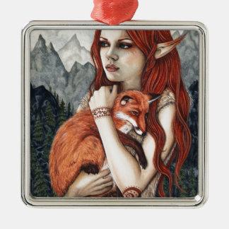 Elf Fox Fantasy Art Metal Ornament