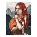 Elf Fox Fantasy Art Nature Postcard