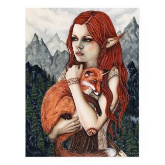 Elf Fox Fantasy Art Nature Postcard