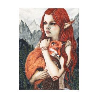 Elf Fox Nature Fantasy Art Wrapped Canvas Canvas Print