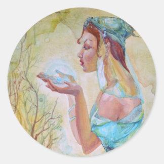 Elf girl classic round sticker