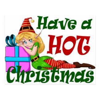 Elf Girl Have a HOT Christmas Postcard