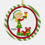 Elf Girl Holding Presents Christmas Ornament