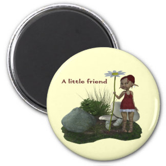 Elf Girl With Daisy 2 Inch Round Magnet