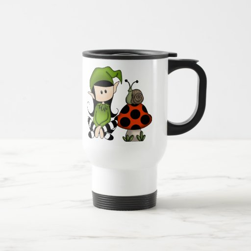 Elf Girl with Mushroom 15 Oz Stainless Steel Travel Mug