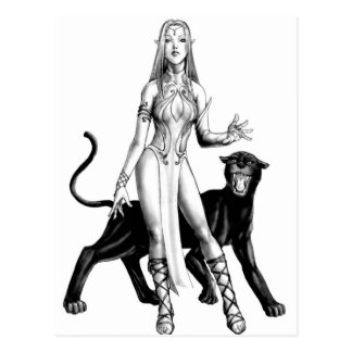 elf girl with panther postcard