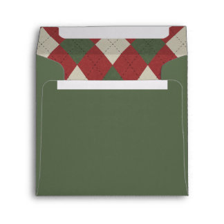 Elf Green & Festive Red Argyle Pattern Envelope