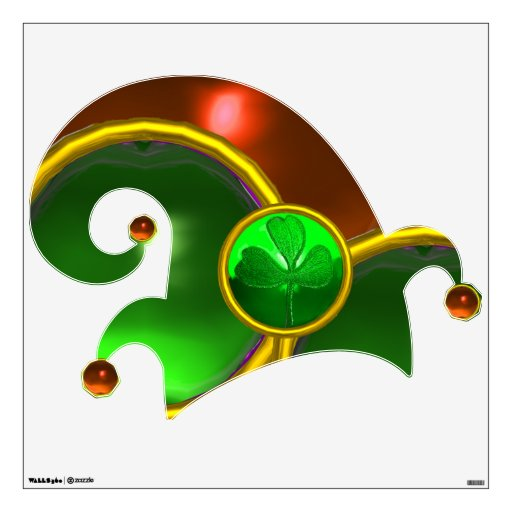 ELF HAT /GOLD JEWELS GREEN SHAMROCK AND GEM STONES ROOM DECAL