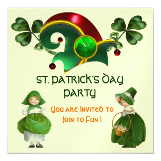 ELF HAT WITH SHAMROCKS ST. PATRICK'S DAY PARTY 5.25X5.25 SQUARE PAPER INVITATION CARD