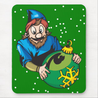 Elf Holding Christmas Ornament Mouse Pad