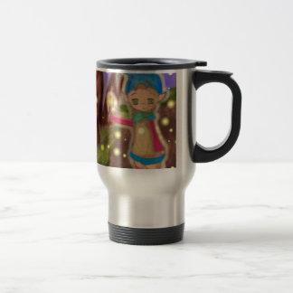 elf in forest travel mug