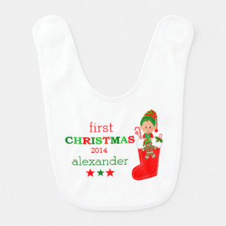 Elf in Stocking | Baby's First Christmas- Baby Bib